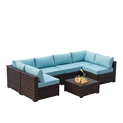 AURO Outdoor Furniture 7-Piece Sectional Sofa Set All-Weather Brown Wicker  with Water Resistant Blue Olefin Cushions for Patio Backyard Pool | Incl.  ...