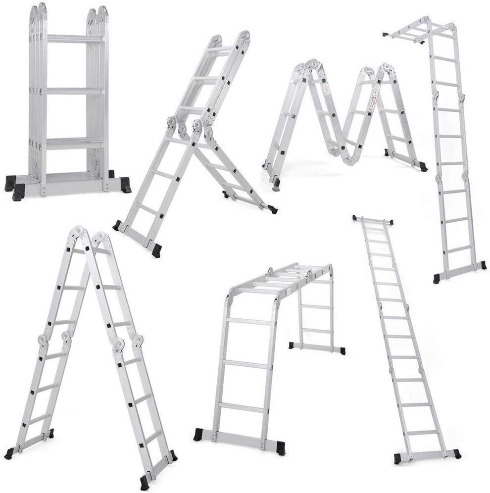 Dripex escalera telescópica 3.6 M de aluminio plegable multifunción escalera extensible carga 150 kg 4 x 3 peldaños 2 paneles herramienta bricolaje: Amazon.es: Bricolaje y herramientas