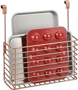 mDesign Metal Over Cabinet Kitchen Storage Organizer Holder or Basket - Hang Over Cabinet Doors in Kitchen/Pantry - Holds Bakeware, Cookbook, Cleaning Supplies - Copper