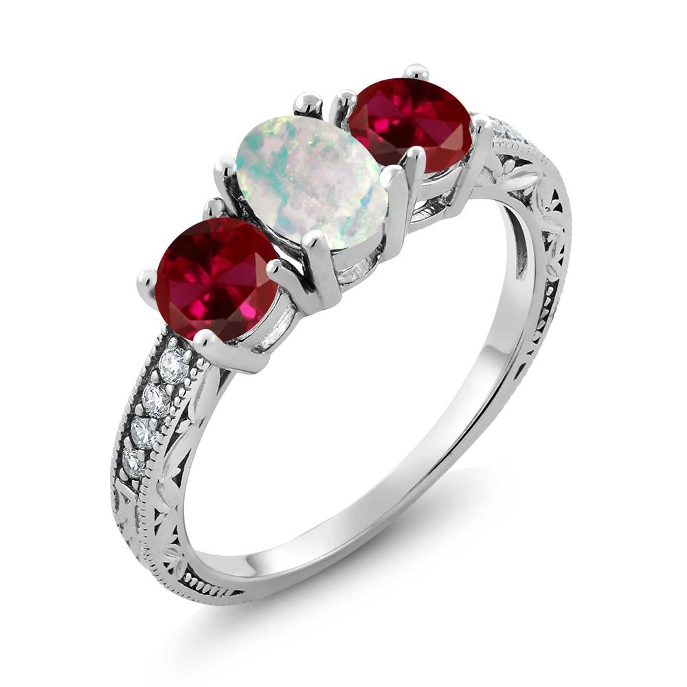 1.95 Ct Oval Cabochon White Simulated Opal Red Created Ruby 925 Sterling Silver Ring (Available in size 5, 6, 7, 8, 9)