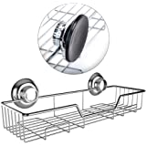 Gecko-Loc Shower Shelf Basket Caddy w Suction Cups Stainless Steel Chrome for Your Bathroom