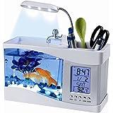 flexzion usb desktop aquarium mini fish tank with running water lcd time clock alarm colorful led office desk aquarium
