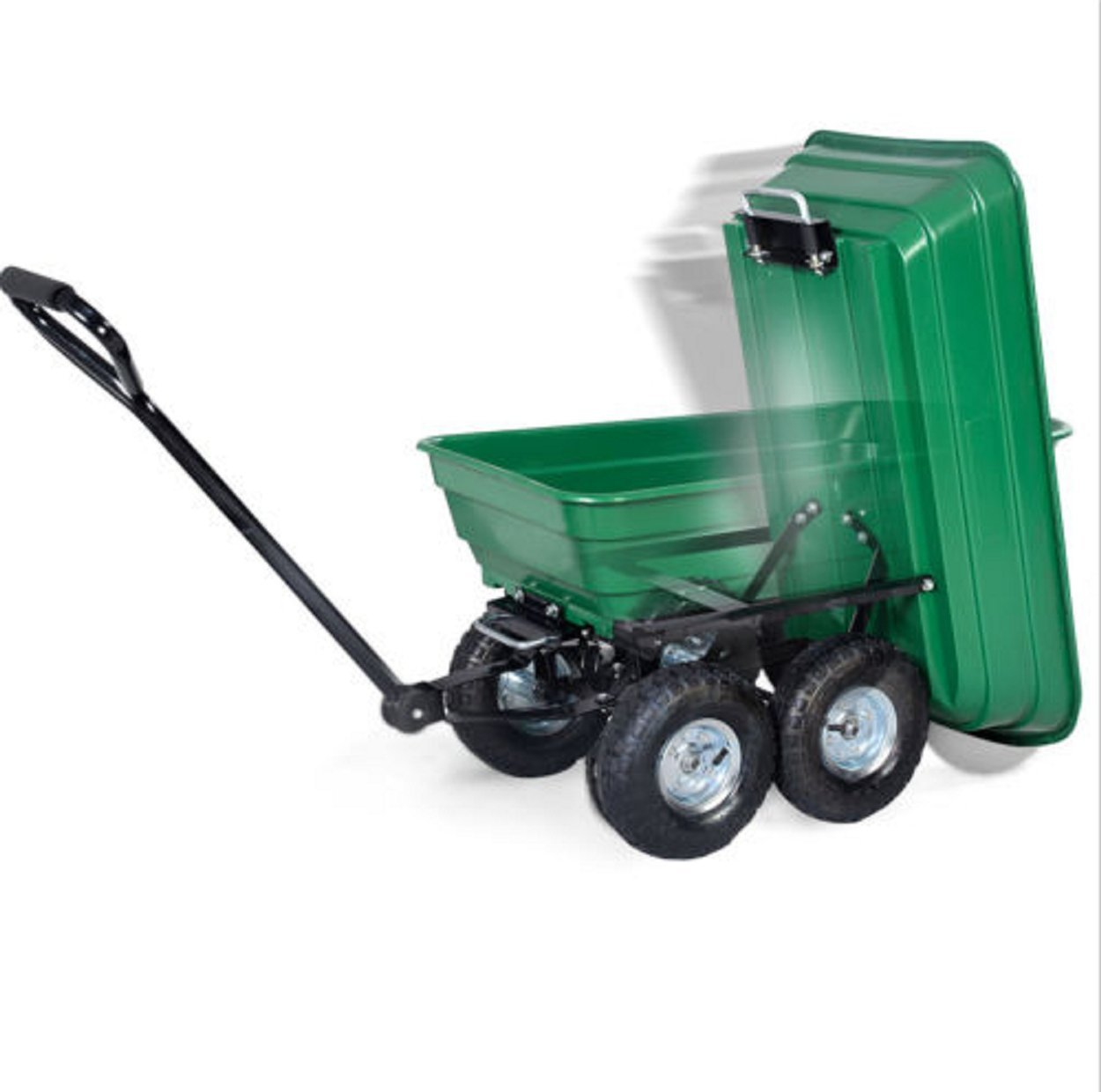 650LB Green Garden Cart Dump Wagon Trailer Lawn Wheels Rolling Storage Wagon Carrier Barrow Air Tires Heavy Duty