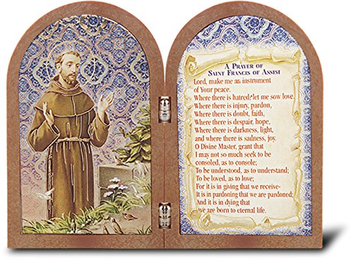 - Saint Francis Bi-Fold Dyptych Standing Gold Stamped Plaque 3.75
