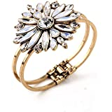 """Opal and Acrylic, Flower Fashion Cuff Bracelet, Gold Colored , 6.1"""""""