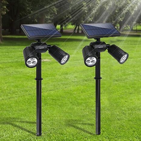 Lampade Solari da Giardino FKANT 2 in 1 Lampada Solare da Esterno con 6 LED luminosi, IP65 Impermeabile, Illuminazione Giardino Estremamente Flessibile con Pannello Solare ad Alta Efficienza (2): Amazon.es: Iluminación