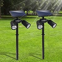 Lampade Solari da Giardino FKANT 2 in 1 Lampada Solare da Esterno con 6 LED luminosi, IP65 Impermeabile, Illuminazione…
