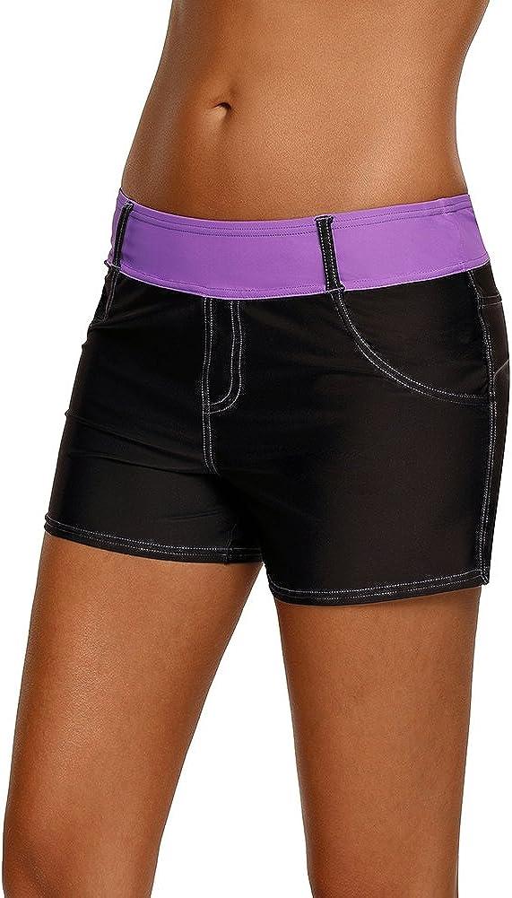 XXXL Joytoo Womens Plus Size Color Block Waistband Swim Board Shorts S