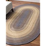 Super Area Rugs, Hartford Braided Indoor / Outdoor Rug Textured Durable Blue Sunroom/Porch Carpet, 3 X 5 Oval