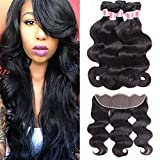 Beauty Princess Ear to Ear Lace Frontal Closure with 3 Bundles Brazilian Body Wave with Closure Unprocessed Human Hair Bundles with Full Lace Frontal Closure Natural Black Color (18 20 22+16, Black) For Sale