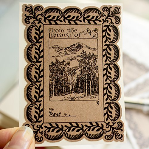 Mountain Forest Bookplate Stickers personalized gift book labels set of ten