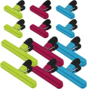 SUNMALL Chip Bag Clips, 12 Pack Heavy Duty Food Clips, Assorted Colors Bag Clips for Food Storage for Coffee, Bread Bags, Snack Bags and Food Bags