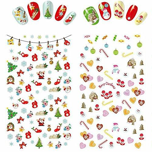 Udyr Christmas Nail Decals Tip Nail Art Stickers Self-adhesive Nail Decoration for Manicure DIY or Nail Salon 5 Sheet