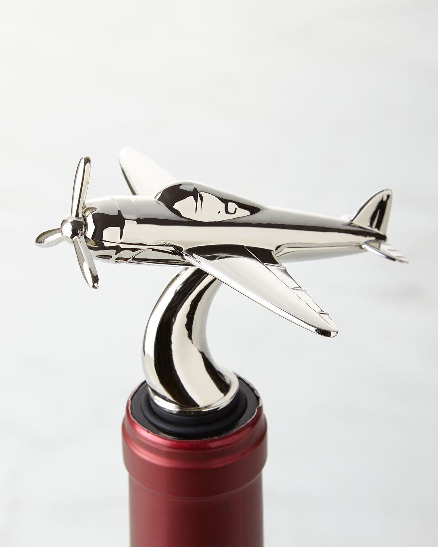 Le'raze Stainless Steel Airplane Wine Bottle Stopper, Wine Beverage Air Tight Preserver, Easy Grip Rubber Cork Silver Aviation Collection Design, Chrome Bar Decor Ideal for Flying Bartender, Hosting