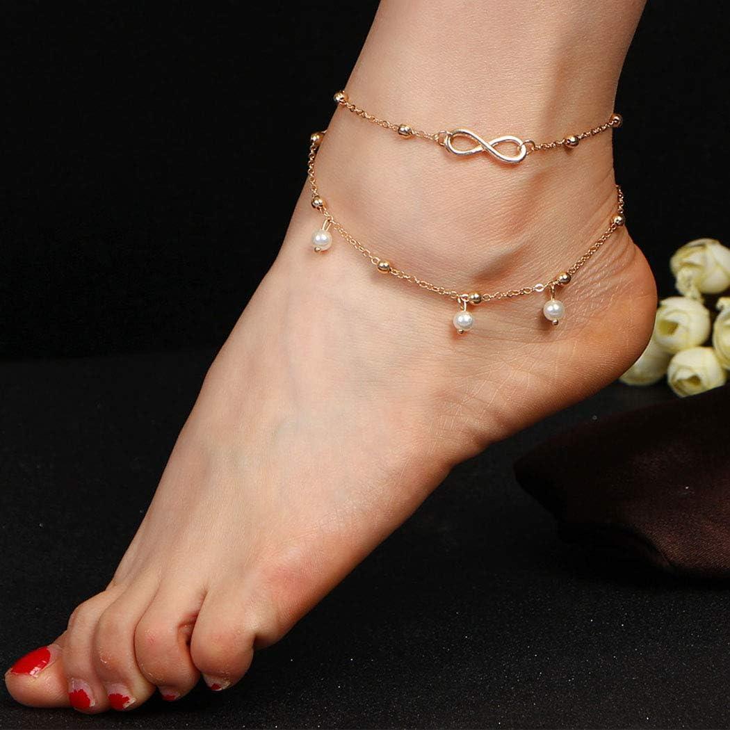 Arimy Boho - Tobillera con cuentas doradas y perlas para playa o verano, pulseras de tobillo, cadena para pies, joyería descalzo, sandalias para mujeres y niñas
