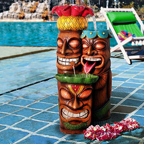 Alpine Corporation 3-Tier Tiki Head Water Fountain - Outdoor Waterfall for Garden, Patio, Deck, Porch - Yard Art Décor - Multi-Color ()