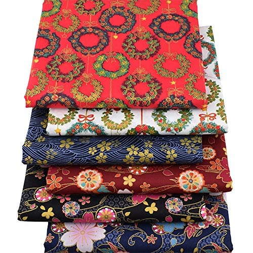Japanese Sakura Cherry Blossoms Bronzing Fat Quarters Fabric Bundles,Precut Sewing Quilting Fabric,18