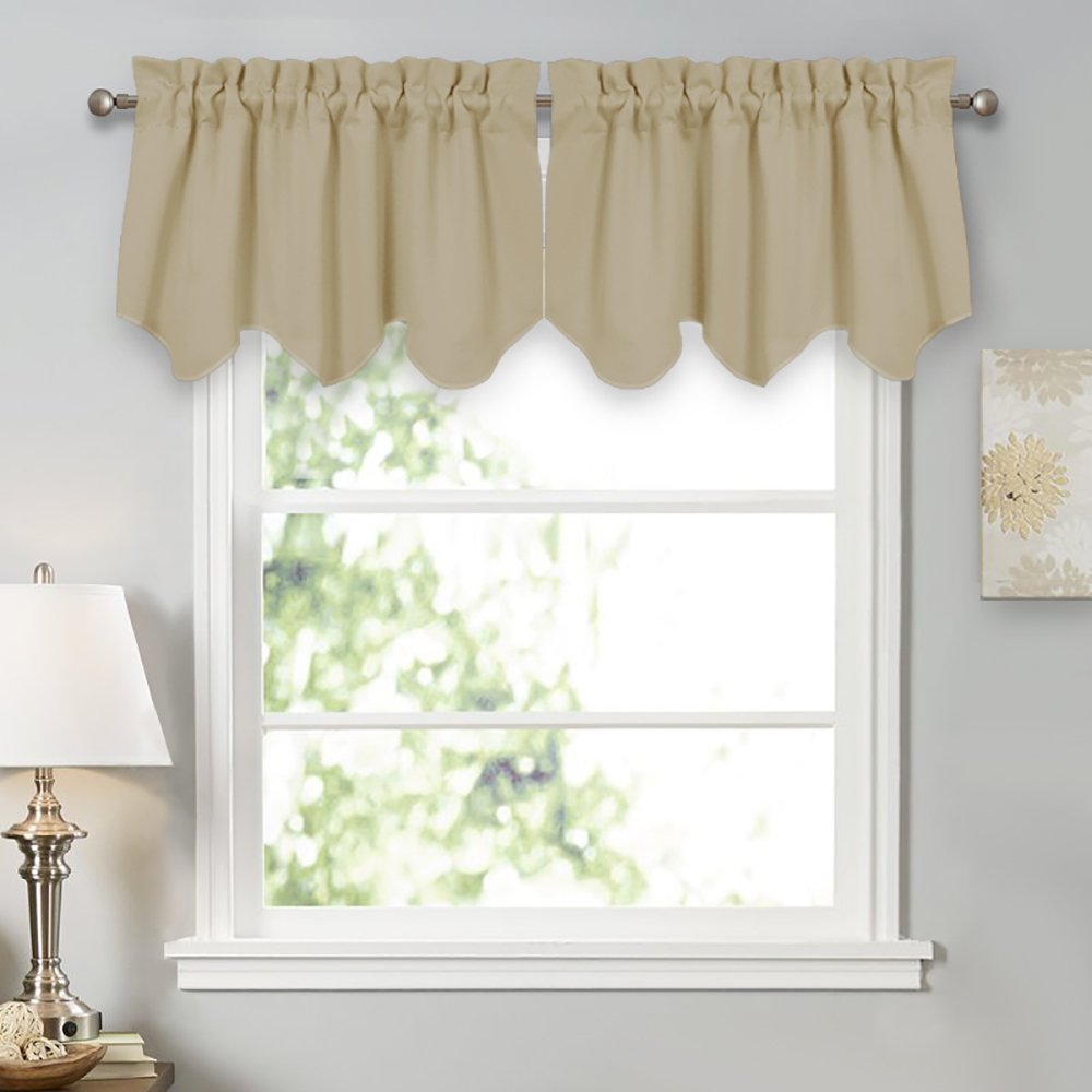 PONY DANCE Curtain Tiers Set - Window Treatments Room Darkening Drapes Rod Pocket Top Scalloped Valances Curtain Panel Kitchen & Bedroom, 42'' W 18'' L, Beige, Set of 2