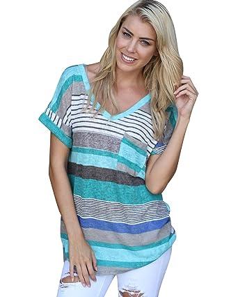 25f6d5d3d63f T Shirt Col V Manche Courte Femme Tee Shirt Manches Courtes Imprimé Rayé Femme  Long Haut
