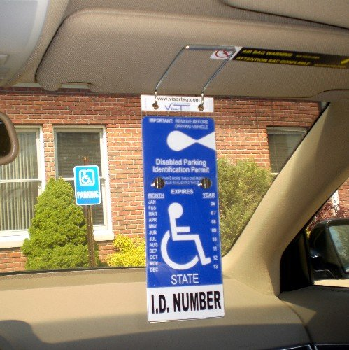 VisorTag® Vertical Mount VTD110 by JL Safety- The Best Way to Protect, Display & Swing Away a Handicap Parking Placard. Best Handicapped Placard Cover and Protector on the Market. Don't Settle for a Cheap Handicap Cover that you purchase over and over, g