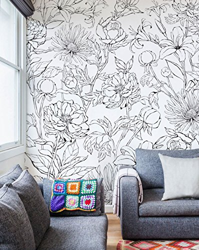 Botanical Garden Hand Drawn Flowers Mural Wall Art Wallpaper - Peel and Stick - by Simple Shapes (4 sheet pack - 2ft x 8ft) by Simple Shapes (Image #1)