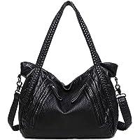 Di Grazia Women's Leather Italian Tote Handbag (Black, black-beaded-large-tote-handbag)
