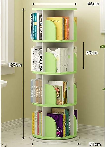 2 Niveles Giratoria Librería,madera 360•rotación Estantería ...