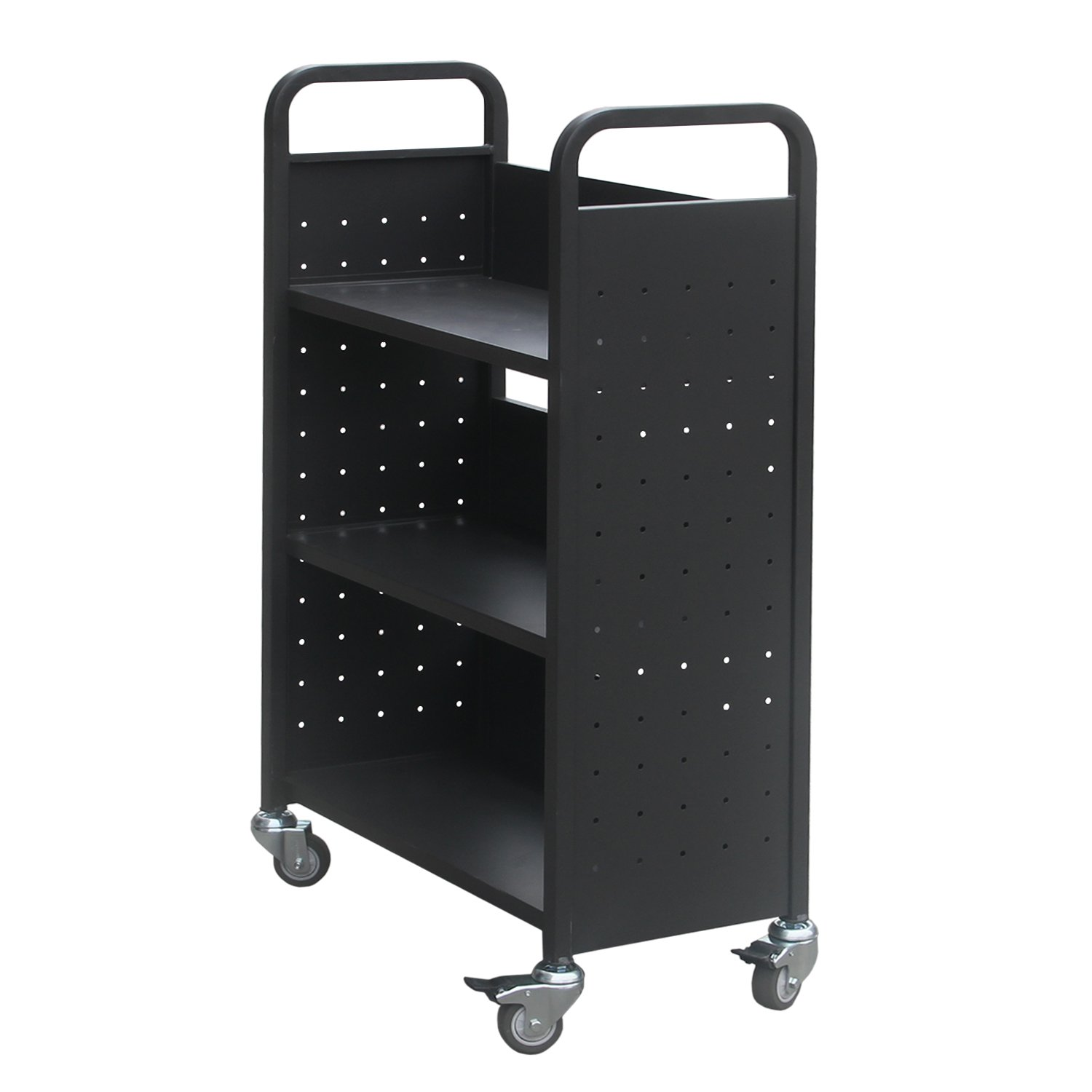 Rolling Library Book Cart Single Sided Flat Shelves with Lockable Wheels,200lbs Capacity (Black) by Alice