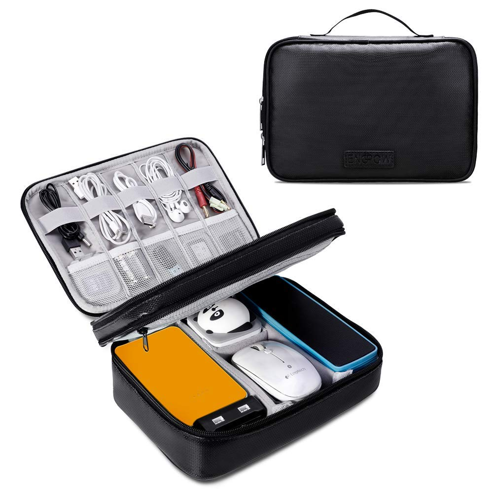 【Upgrade】 Travel Cable Organizer Bag,Fireproof Waterproof Electronics Accessories Cases Travel Gadget Bag USB Cable,Cords, Mini Tablet (Up to 7.9) ENGPOW
