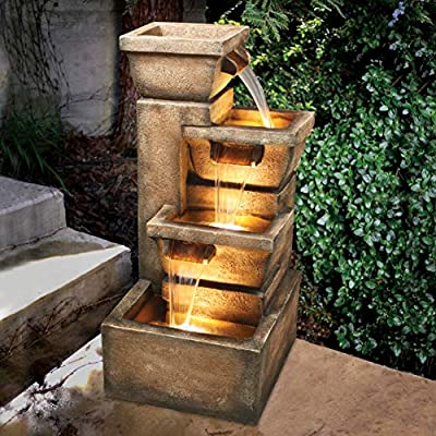 Bond Manufacturing Y98881 Ashboro 33 inch Zen Fountain - Great addition to your patio, balcony, or outdoor entertainment area Constructed of Envirostone Includes 3 yellow LED lights - patio, outdoor-decor, fountains - 61sJDg oIQL. SS400  -