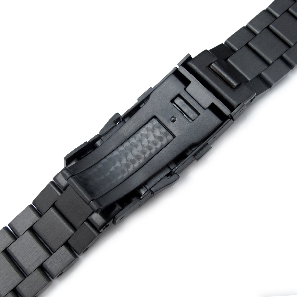 22mm Solid 316L SS Endmill Metal Watch Bracelet, Straight End, Ratchet Clasp, PVD Black by 22mm Metal Band by MiLTAT (Image #5)