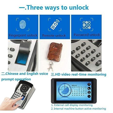 NA Home Video timbre para puerta, 7 pulgadas Video Doorbell Kit ...