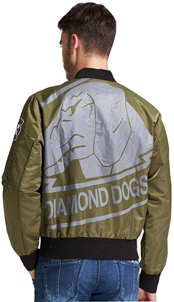 Elegant Mens Flight Bomber Jacket Diamond Dogs Metal Gear Solid 5 Regular Fit Casual Solid Outdoor Coats