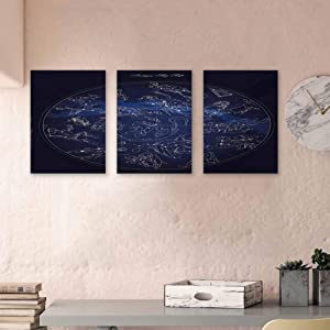"""Constellation Paintings Oil Antique Sky Map with Hand Drawn Mythological Figures History Galaxy Modern Home Decor Wall Art Art Prints for Home Walls Decor, 16""""x24""""x3 Pcs Blue Dark Blue Beige"""