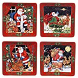 """Certified International The Night Before Christmas Dinner Plates (Set of 4), 10.5"""", Multicolor"""