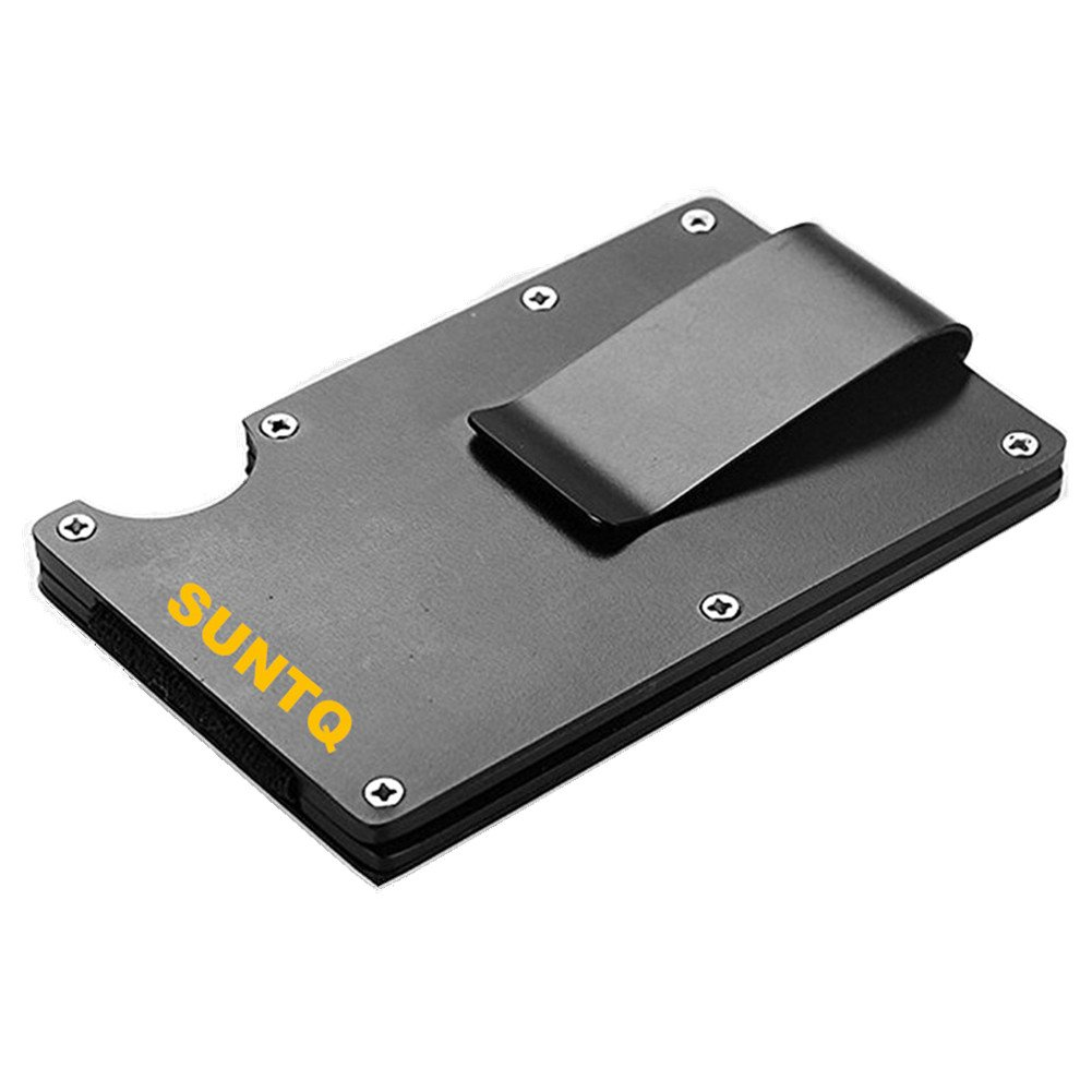SUNTQ Metal Wallet Credit Card Holder Travel Minimalist Wallet,Business Aluminum Slim Money Clip Wallet with RFID Blocking Black/ Silver (Black)