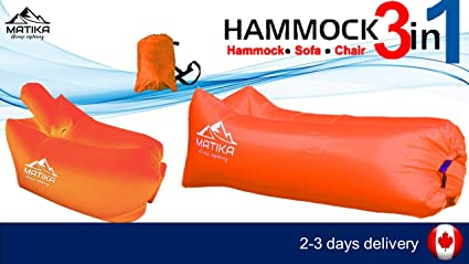 Swimming Pools Parks and More Beach Inflatable Hammock 3 in 1 Premium MATIKA Luxury Inflatable Lounger Sofa Chair Sleeping Bag,Compression Air Beds,Portable Chair,Air Mattresses.for Camping