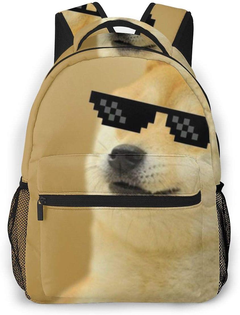 Boys Grils Rucksacks Back To School Gift - Funny Doge Thug Life Sunglasses Bookbag School Daypack Backpack Travel Hiking Daypack, Gym Outdoor Hiking Bag Business Computer Bag