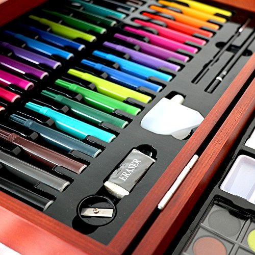 JIANGXIUQIN Artist Art Drawing Set, 178 Pieces of Luxury Art Creative Set in Wooden Boxes, Detachable Tray Paintings, Including All The Other Items You Need to Start. Gifts for Children and Children. by JIANGXIUQIN (Image #1)