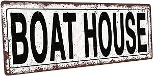 Boat House Metal Street Sign, Rustic, Vintage