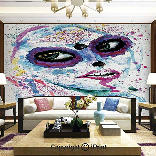 (Mural Wall Art Photo Decor Wall Mural for Living Room or Bedroom,Grunge Halloween Lady with Sugar Skull Make Up Creepy Dead Face Gothic Woman Artsy,Home Decor - 66x96)