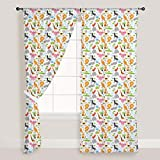 AZ Cute Animals Door & Window Curtain Satin 4feet x 8feet; SET OF 2 PCS