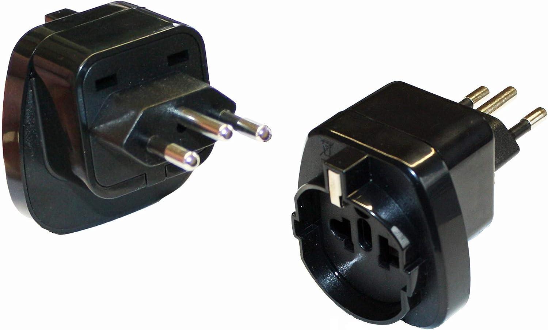 Reisestecker24 Adaptador de Corriente para Brasil Tipo N con protecci/ón de Contacto