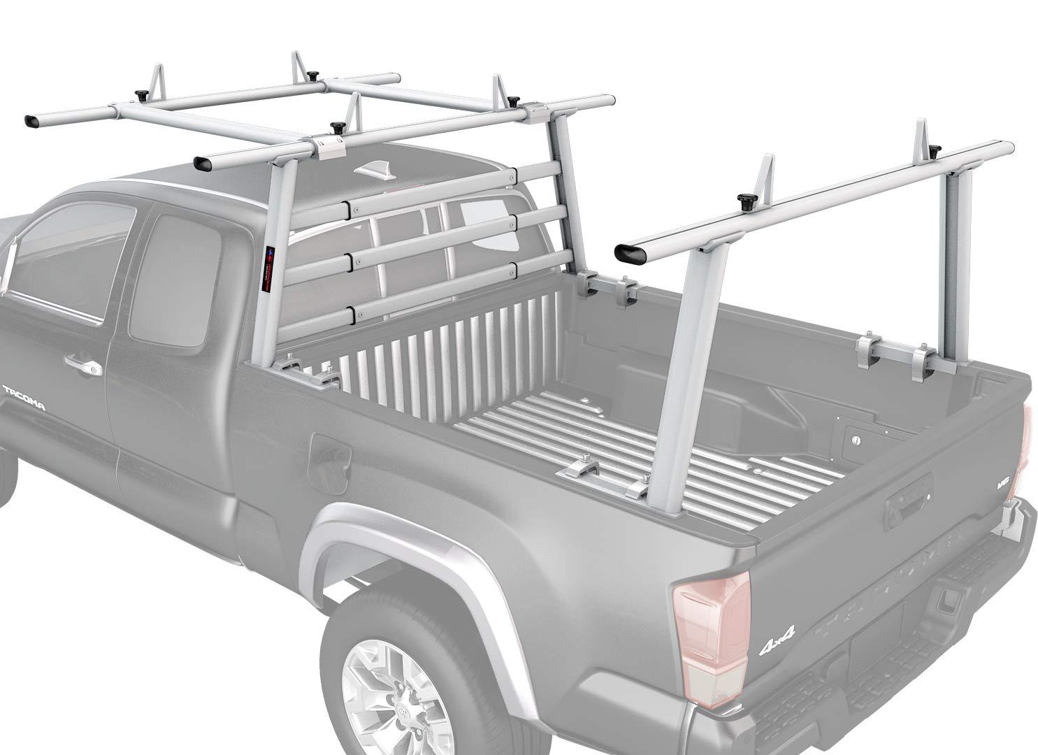 AA-Racks APX25-WG-E Aluminum Headache Rack Pickup Truck Rack w/Cantilever Extension Back Rack - Sandy White