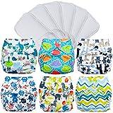cloth diaper inserts fuzzi bunz - FuzziBunz Pocket Cloth Diapers 6 Pack Bundle with Inserts (Gender Neutral Prints, Small (7-18 lbs))