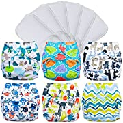 FuzziBunz Pocket Cloth Diapers 6 Pack Bundle with Inserts (Gender Neutral Prints, Small (7-18 lbs))