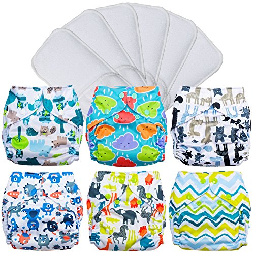 FuzziBunz Pocket Cloth Diapers 6 Pack Bundle with Inserts (Gender Neutral Prints, XS (4-12 lbs))