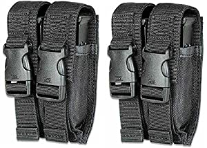 Ultimate Arms Gear Pack of 2 Tactical Stealth Black Colt 1911 XSE Double Dual 9mm .40 S&W .45 ACP Hi-Cap Pistol Handgun Caliber Magazine Mag Nylon Cell Carrier Pouch with Secure Buckle Adjustable Velcro Straps