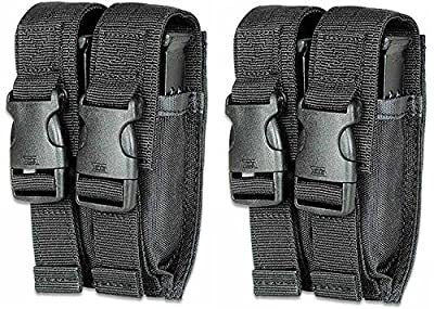 Ultimate Arms Gear Pack of 2 Tactical Stealth Black Glock Double Dual 9mm .40 S&W .45 ACP Hi-Cap Pistol Handgun Caliber Magazine Mag Nylon Cell Carrier Pouch with Secure Buckle Adjustable Velcro Straps
