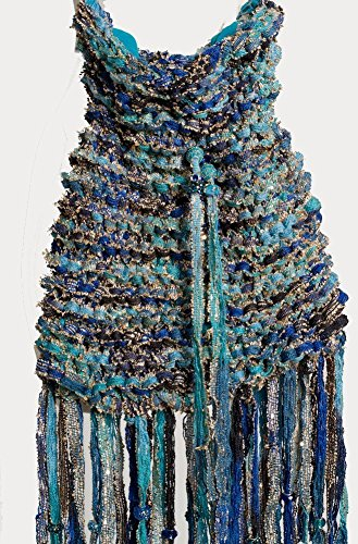 Exclusive Exquisite Turquoise Drawstring Hand Knitted One Of a Kind Boho (Chanel Drawstring)